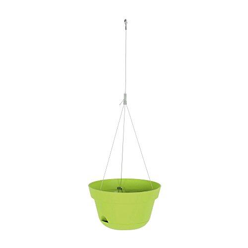 EDA Plastiques - Balconnières - Suspension Toscane câble Acier 30 x 17cm 5,2L - Vert Matcha