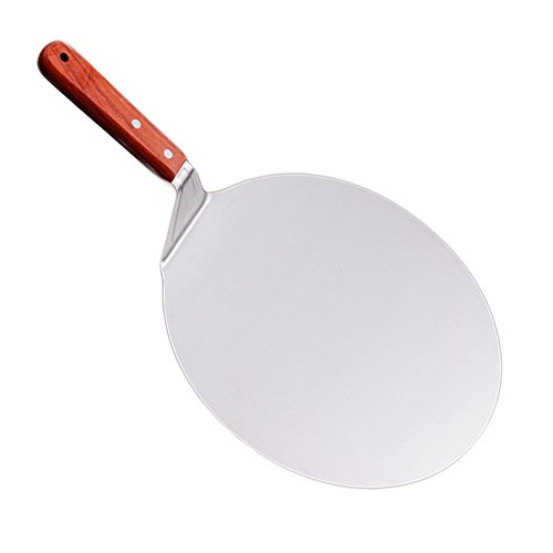 Tableware Pizza Peel,Stainless Steel Blade with Wooden Handle,Metal Spatula/Cake Lifter for Baking Pizza and Bread on Oven Grill. Indoor / Outdoor size 260*260mm
