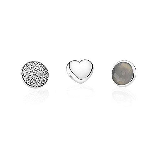 Pandora - set di gioielli da donna in argento 925,pietra di luna, grigio–792091msg