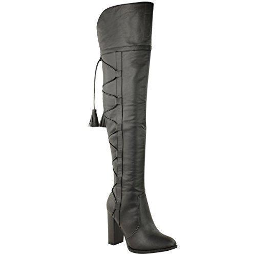 Bottes hauteur cuisse pour femmes lacets Simili-cuir Noir
