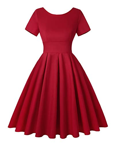 MINTLIMIT Damen Kurze Ärmel 1920 Vintage Stil Rockabilly Schwingen Kleid (Einfarbig Red,Größe S)