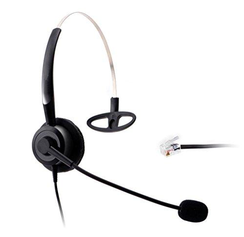 Wantek Telefon Headset Wired mit Flexible Noise Cancelling Mikrofon für Aastra Shoretel Nortel Cisco E20 Polycom Digium Altigen Comdial & Starleaf Büro IP Telefone(210P003A) -