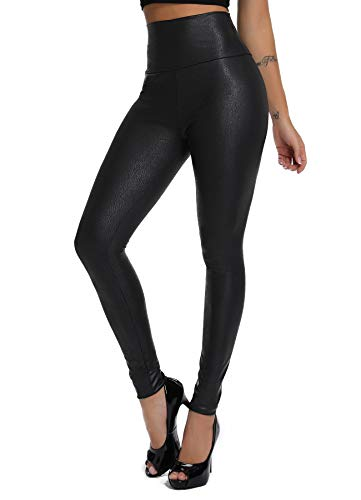 FITTOO Damen Kunstleder High Waist Leggings Skinny PU Leder Hose Leder-Optik Strumpfhosen Treggings Schwarz Muster S Super Optik