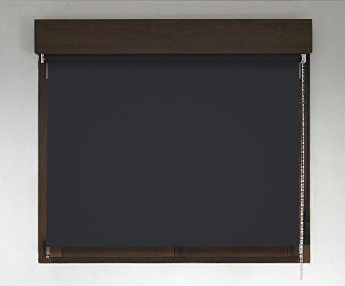 Estor TÉRMICO OPACO PREMIUM (desde 40 hasta 300cm de ancho, no permite paso de la luz y sin visibilidad exterior). Color negro. Medida 118cm x 240cm para ventanas y puertas