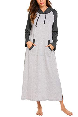 Doneto Nahcthemden Damen Schlafkleid Pyjamas Sweatshirt mit Kapuze Taschen Pullover Casual Langarmshirts Hoodie Kapuzenpullover Einteiler