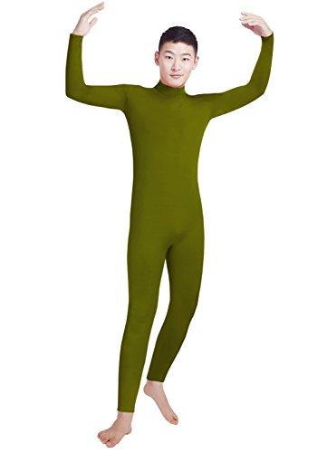 lucky baby store Jungen Männer Lycra Spandex Rollkragen Langarm Ein Stück Dancewear Ganzanzug Bodysuit (XL, Army Green)