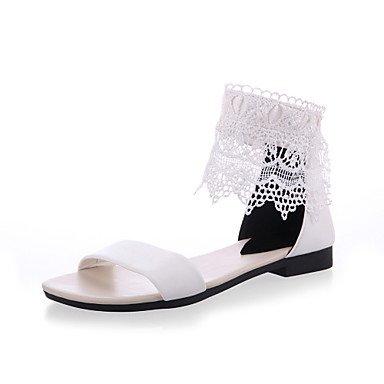 LvYuan Damen-Sandalen-Büro Kleid Party & Festivität-Kunstleder-Flacher Absatz-Club-Schuhe-Schwarz Weiß Black