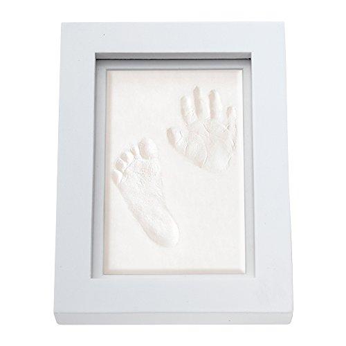 Cadre photo en bois de pin abordable pour pied et empreinte de pied et main, kit souvenir pour bébé nouveau-né, cadeau inoubliable pour la fête prénatale, baptême et Noël.