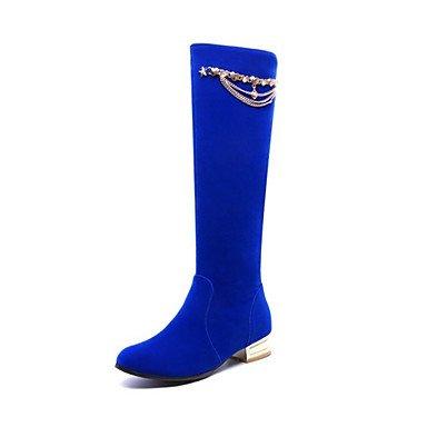 RTRY Scarpe da donna in pelle Nubuck Autunno Inverno Comfort moda Stivali Stivali tacco piatto Round Toe stivali Mid-Calf rivetto per vestire Office & carriera US5.5 / EU36 / UK3.5 / CN35