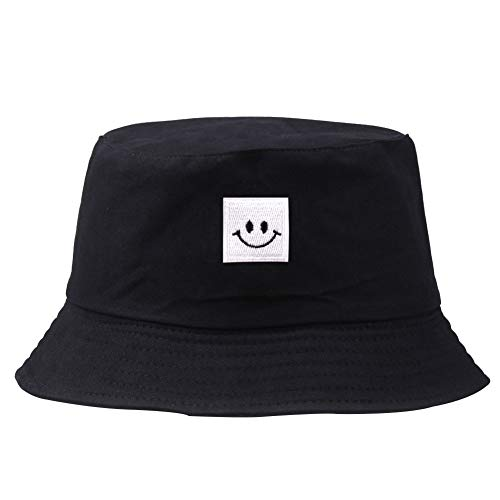 Imagen de patrón del sombrero bordado cubo cuadrado cap smiley unisex algodón pescador sombrero de sol al aire libre plegable  plana para las mujeres de los hombres