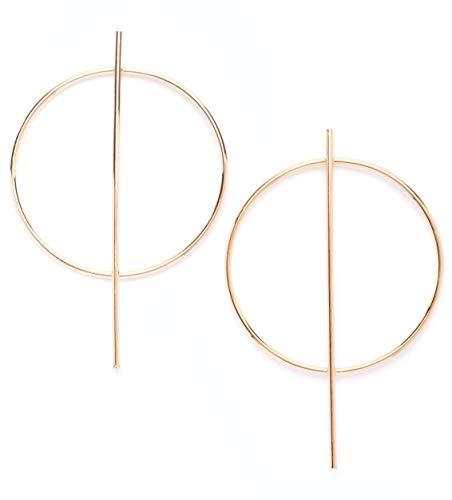 amen Creolen in Goldfarbe | Runde Ohrringe Creolen mit Stäben Geometrisches Design ()