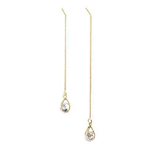 LABIUO Damen 925 Sterling Silber Zirkonia Kristall Wassertropfen Anhänger Ohrringe Lange Kette Ohrstecker Dangly Drop Ohrring(Gold,Einheitsgröße)