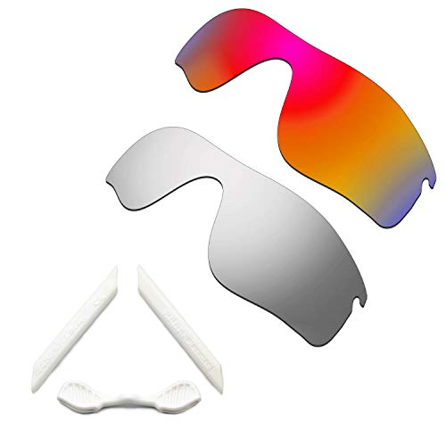 HKUCO Red/Silver Polarized Replacement Lenses and White Earsocks Rubber Kit For Oakley Radarlock Path Sunglasses
