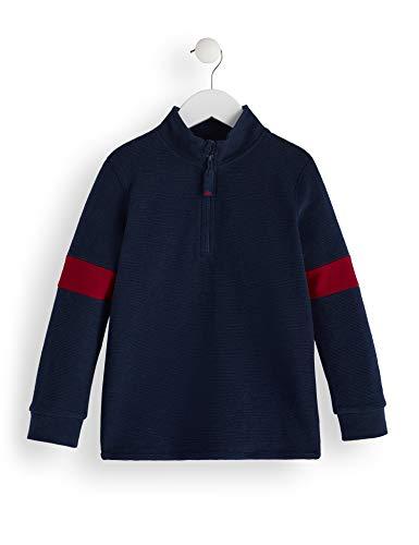 RED WAGON Jungen Half Zip Panel Sweater Sweatshirt, Blau (Navy), 116 (Herstellergröße: 6)