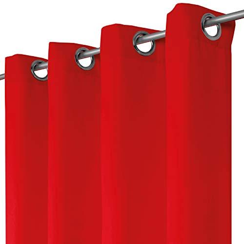 Bestlivings Blickdichte Rote Gardine mit Ösen in 140x145 cm (BxL), in vielen Größen und Farben - Rote Ösen
