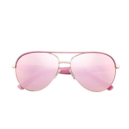 Damen Retro Pilot Sonnenbrille - Verspiegelte Sonnenbrille mit polarisierten Gläsern Brille (Farbe : Pink/Rose Gold)