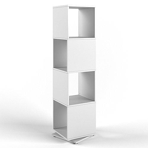 VICCO XXL Drehregal Regal 145cm hoch Ordnerregal Standregal Bücherregal Büro (Weiß)