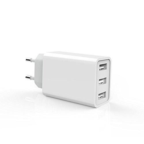 Europäische USB-Adapter EU Spec Drei USB-Port-Stecker Europäische Ladegeräte Tragbare Familie Reise-Netzteil für iPhone, Samsung Galaxy, LG, iPad, Sony, Etc. für Reisen