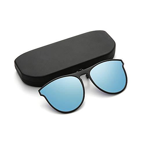 Aegilmc Clip-On Sonnenbrillen für Vorschriebene Brille, Flip Up UV-Schutz-Sonnenbrille über Brillen, mit Flip-Up Frameless Rechteck Lens,Blue