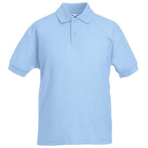 Blue Knit Polo Shirt (Fruit of the Loom 65/35 Polo Kids - Farbe: Sky Blue - Größe: 128 (7-8))