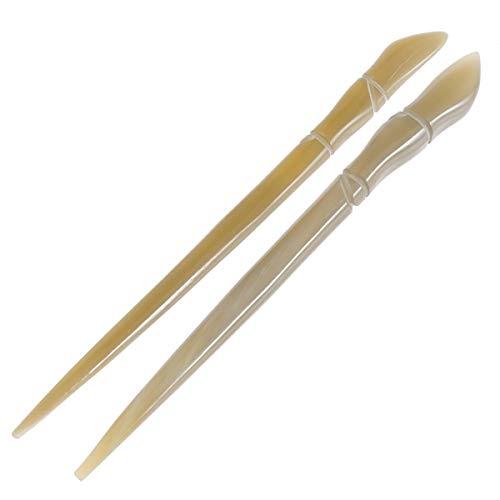Lurrose 2 stücke Vintage Haar Stäbchen Yak Horn Haar Stick Haar Dekor Haarnadel für Mädchen (Bambus Joint Pattern)