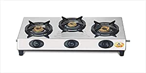 Bajaj CX9, 3-Burner Stainless Steel, ISI Certified, Gas Stove (Black)