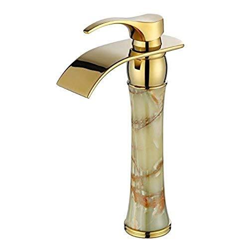 360 ° drehbarer Wasserhahn Retro Wasserhahn voller Kupfer natürliche Jade Wasserhahn hohe antike heiße und kalte Gold Becken Wasserhahn