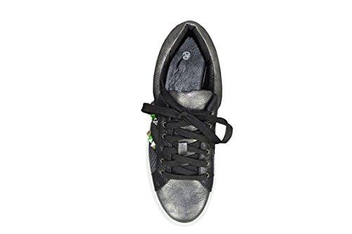 S&LU Edle Mädchen Sneaker in super angesagten Designs mit Glanz- und Glitzereffekten und mehrfarbigen glänzenden Pyramidennieten in vielen Größen Schwarz