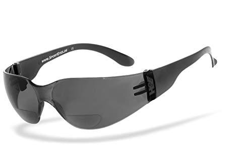 HSE SportEyes® | UV400 Schutzfilter, HLT® Kunststoff-Sicherheitsglas nach DIN EN 166 | Sportbrille, Bifocal Sportbrille | Brillengestell: schwarz, Brille: Sprinter 2.3 +2,00 Dioptrien