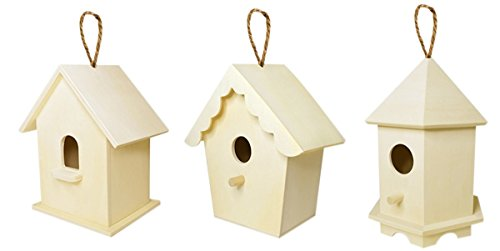 Kunst und Handwerk Holz Decor Natur unlackiert Holz Vogelhaus mit Jute Kordel zu Hängen, Set von 3 -
