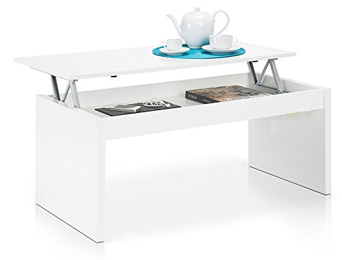 PEGANE Table Basse Blanc Brillant avec Plateau Relevable
