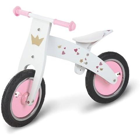 Pinolino 239455 - Bicicleta de madera sin pedales para niñas, (sillín regulable) color rosa y blanco