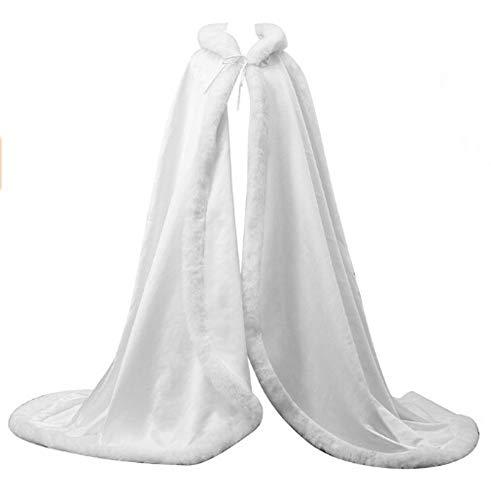 (ShineGown Weiss Frauen Lange Mit Kapuze Brautkleid Mantel Braut Cape Hochzeit Damen Umhang Winter Warm Party Schals Wraps)