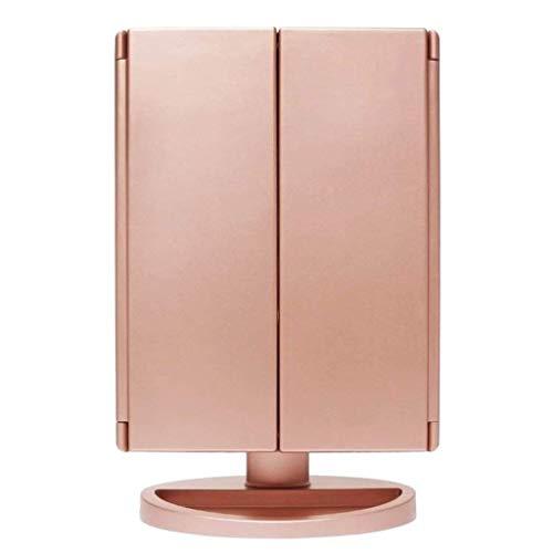 p Spiegel, Tri-Fold beleuchtete Kosmetikspiegel mit 21 LED-Leuchten, Touchscreen und 3X / 2X / 1X Vergrößerungsspiegel ()