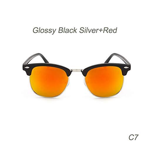 ACKJ Retro Sonnenbrille Top Klassische Männer Frauen Sonnenbrille Aviator Männlich Weiblich Brillen Halbrandlos, C7