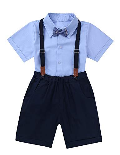 Baumwolle Kleinkind Kleidung (MSemis Baby Junge Anzug Smoking Kleinkinder Hochzeit Festliche Kleidung Set Gentleman Anzüge Baumwolle Hemd mit Fliege + Hose mit Träger Blau 116-122/6-7 Jahre)