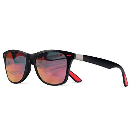 CHEREEKI Polarisierte Mode Sonnenbrille mit UV400 Schutz Unisex Klassische Brille für Herren Damen (Schwarz und Orange)
