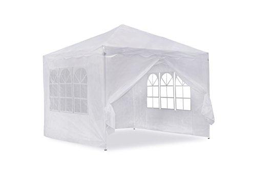 Jom gazebo da giardino 3 x 3 m, pieghevole, bianco, 3 x 3 m, materiale oxford 200d, con pareti laterali e borsa di trasporto