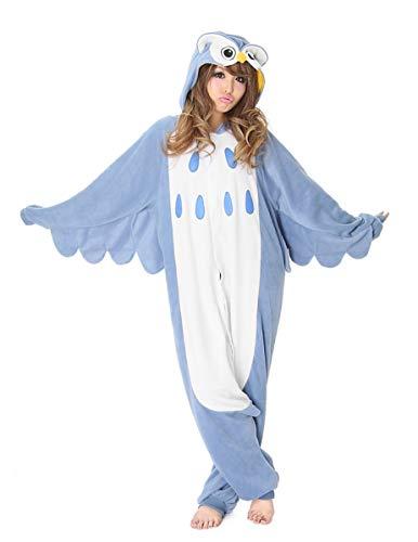 Für Blau Kostüm Samurai Erwachsene - Generique - Kigurumi-Eulen-Kostüm für Erwachsene blau-Weiss M / L