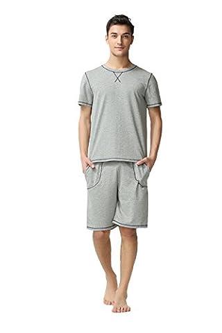 Suntasty Mens Short Sleeve Pyjama 2 Piece Classic PJ Set Striped Nightwear Sleepwear Loungewear Size S M L XL (Grey,XL,1010M)