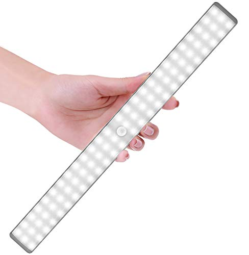 Luce a LED portatile, Sensore di Movimento, Luce Wireless Migliorato a 78 LED con 2 Geniali Sistemi di Rilevamento, Luce per leggere o armadio con 2 Modalità di Installazione (luce bianca)