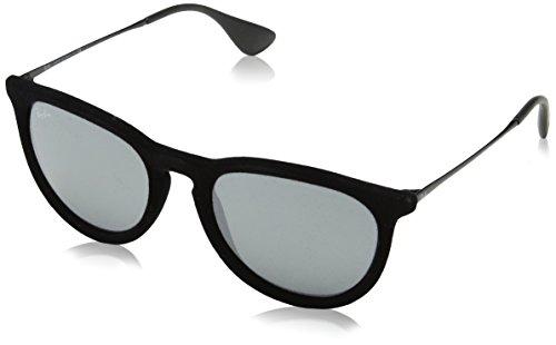 Ray Ban Unisex Sonnenbrille Erika Velvet, Gr. Large (Herstellergröße: 54), Schwarz (Gestell: Schwarz, Gläser: Grau Verspiegelt 60756G)