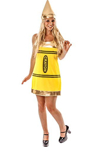 ORION COSTUMES Women's Yellow Crayon Fancy Dress Costume (Crayola Kostüm Für Erwachsene)