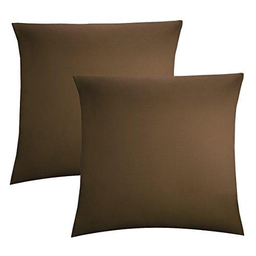 Biberna 0077144 Jersey-Kissenhüllen aus 100 % Baumwolle mit Reißverschluss, 2er-Pack, 40 x 40 cm schokolade, 27 x 18 x 2 cm