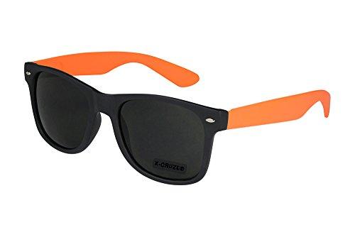 Preisvergleich Produktbild X-CRUZE® 8-066 X23 Nerd Sonnenbrille Style Stil Retro Vintage Retro Unisex Herren Damen Männer Frauen Brille Nerdbrille - schwarz matt / orange matt