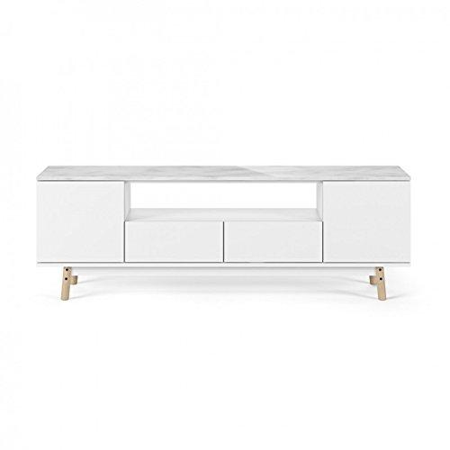Paris Prix - Temahome - Meuble TV Design Lyon 185cm Marbre Blanc & Chêne