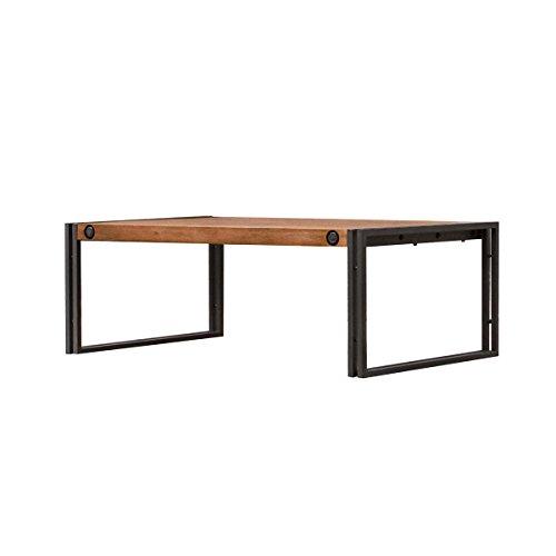 Meubletmoi Table Basse Industriel 110x70cm / Bois d'acacia Massif et métal/Haute qualité - Collection Workshop