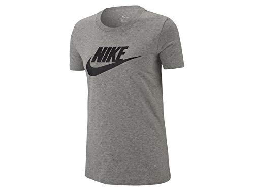 d678d7d2 Nike W NSW tee ESSNTL Icon Futura T-Shirt, Mujer, dk Grey Heather/Black, M