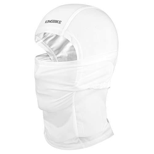 KING BIKE Gesichtsmaske Sturmhaube Motorrad Fahrrad Funktions Sport Jogging Maske Masken Sturmhauben Sommer UPF50-Schutz Gesichtsschutz for Damen Herren (Weiß)