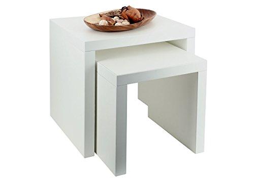 levandeo 2 Satztisch Weiß 44x36cm Höhe: 44cm - Deutsche Herstellung Keine Montage! Fest verleimt! Couchtisch Beistelltisch Wohnzimmertische Tische 2-Satz-Tisch